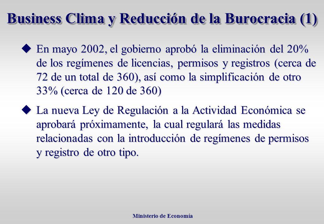 Ministerio de Economía Ministerio de Economía En mayo 2002, el gobierno aprobó la eliminación del 20% de los regímenes de licencias, permisos y registros (cerca de 72 de un total de 360), así como la simplificación de otro 33% (cerca de 120 de 360) En mayo 2002, el gobierno aprobó la eliminación del 20% de los regímenes de licencias, permisos y registros (cerca de 72 de un total de 360), así como la simplificación de otro 33% (cerca de 120 de 360) La nueva Ley de Regulación a la Actividad Económica se aprobará próximamente, la cual regulará las medidas relacionadas con la introducción de regímenes de permisos y registro de otro tipo.
