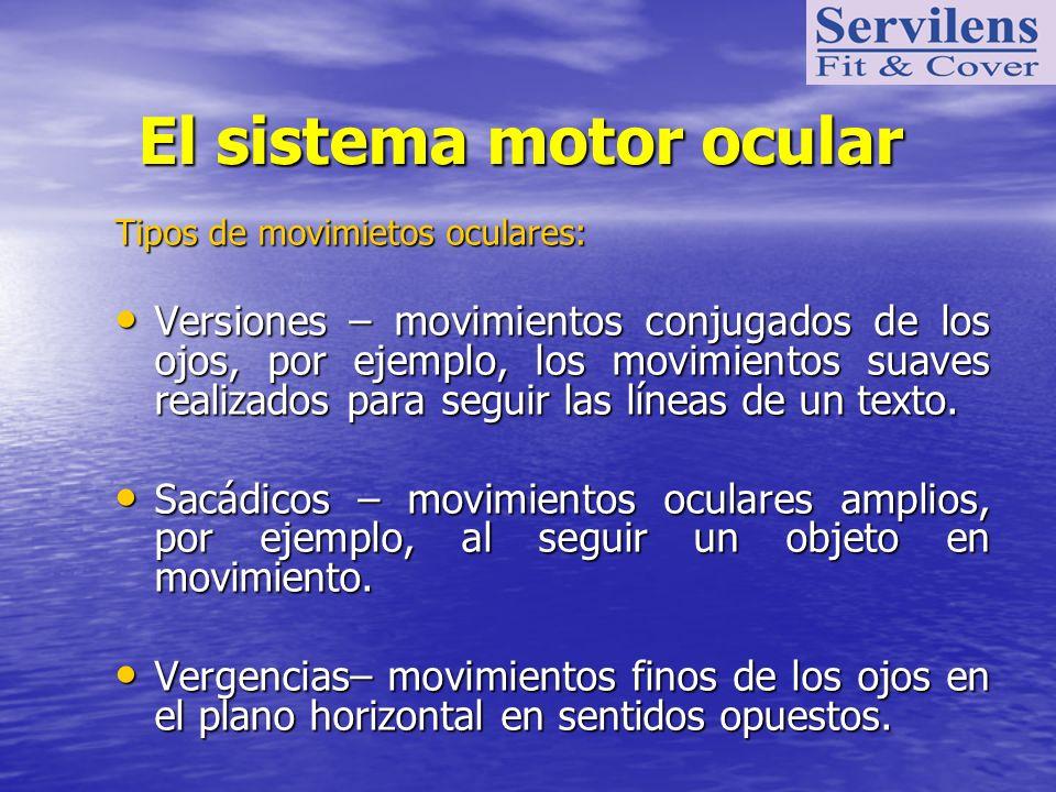 El sistema motor ocular El sistema motor ocular Tipos de movimietos oculares: Versiones – movimientos conjugados de los ojos, por ejemplo, los movimie