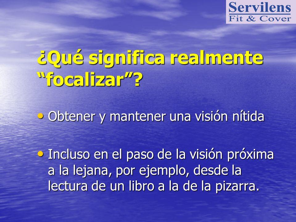 ¿Qué significa realmente focalizar? Obtener y mantener una visión nítida Obtener y mantener una visión nítida Incluso en el paso de la visión próxima