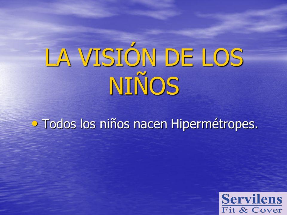 LA VISIÓN DE LOS NIÑOS Todos los niños nacen Hipermétropes. Todos los niños nacen Hipermétropes.