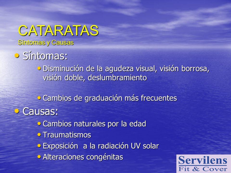 Síntomas: Síntomas: Disminución de la agudeza visual, visión borrosa, visión doble, deslumbramiento Disminución de la agudeza visual, visión borrosa,