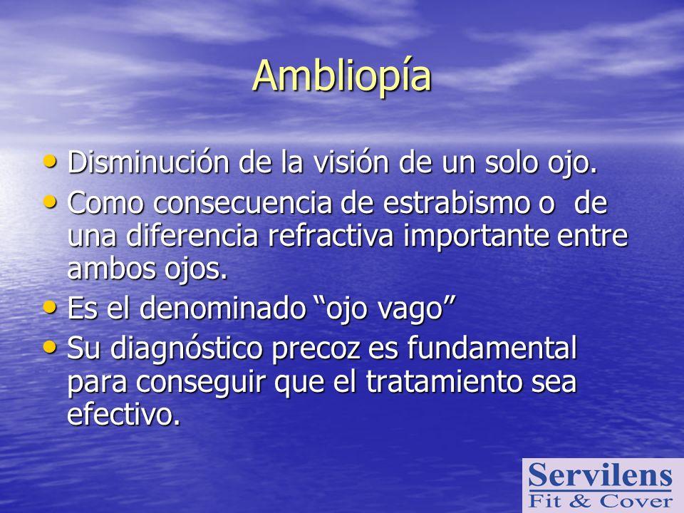 Disminución de la visión de un solo ojo. Disminución de la visión de un solo ojo. Como consecuencia de estrabismo o de una diferencia refractiva impor