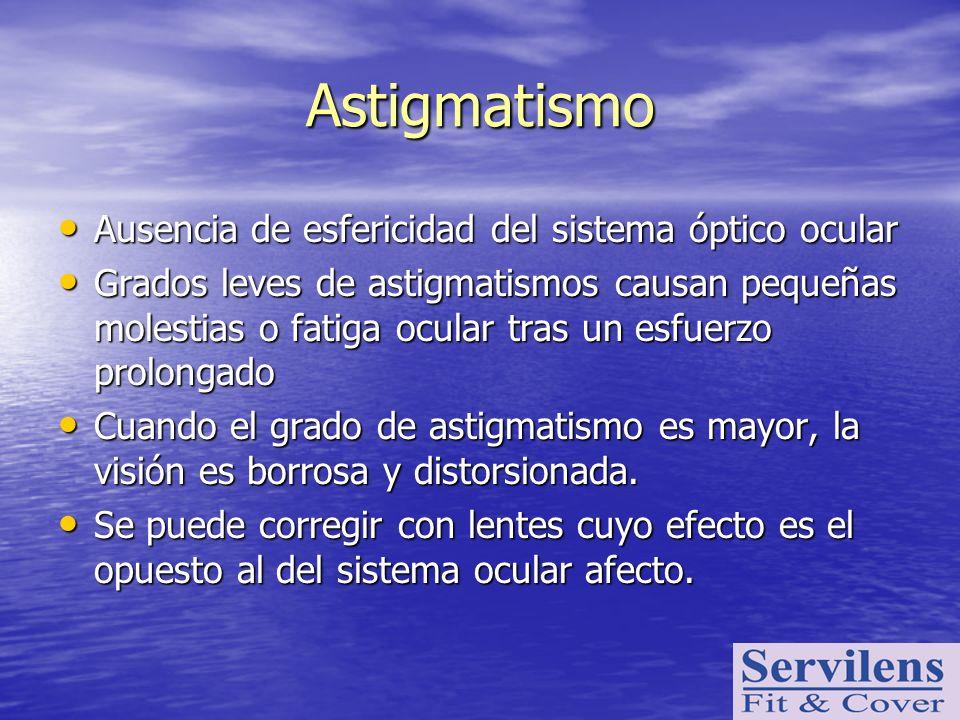 Astigmatismo Ausencia de esfericidad del sistema óptico ocular Ausencia de esfericidad del sistema óptico ocular Grados leves de astigmatismos causan