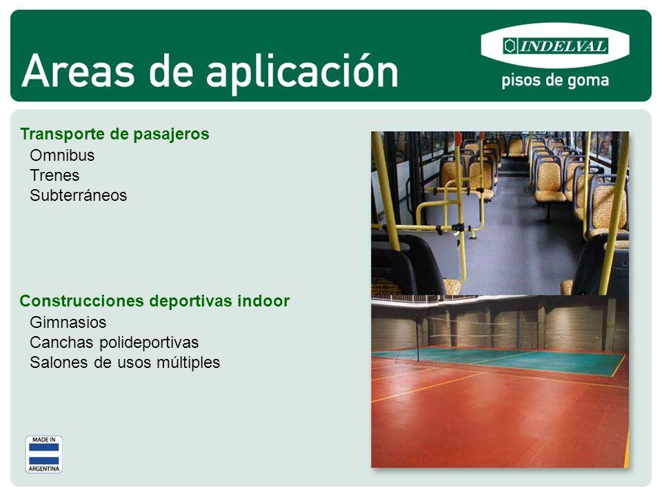 Transporte de pasajeros Construcciones deportivas indoor Omnibus Trenes Subterráneos Gimnasios Canchas polideportivas Salones de usos múltiples