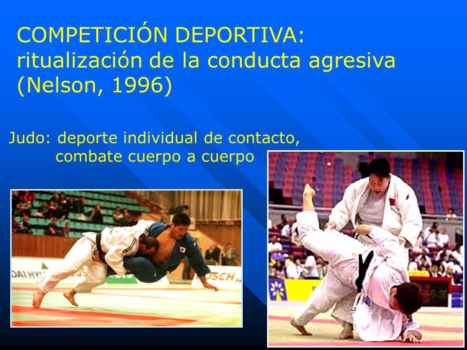 COMPETICIÓN DEPORTIVA: ritualización de la conducta agresiva (Nelson, 1996) Judo: deporte individual de contacto, combate cuerpo a cuerpo