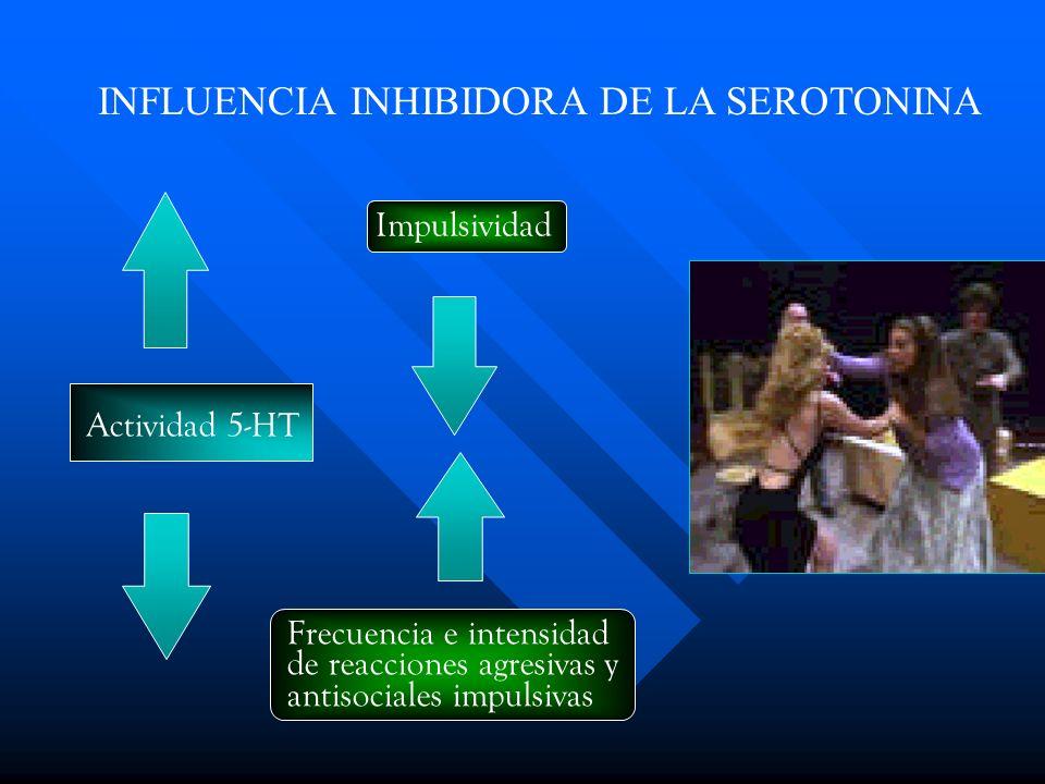 Impulsividad Actividad 5-HT INFLUENCIA INHIBIDORA DE LA SEROTONINA Frecuencia e intensidad de reacciones agresivas y antisociales impulsivas