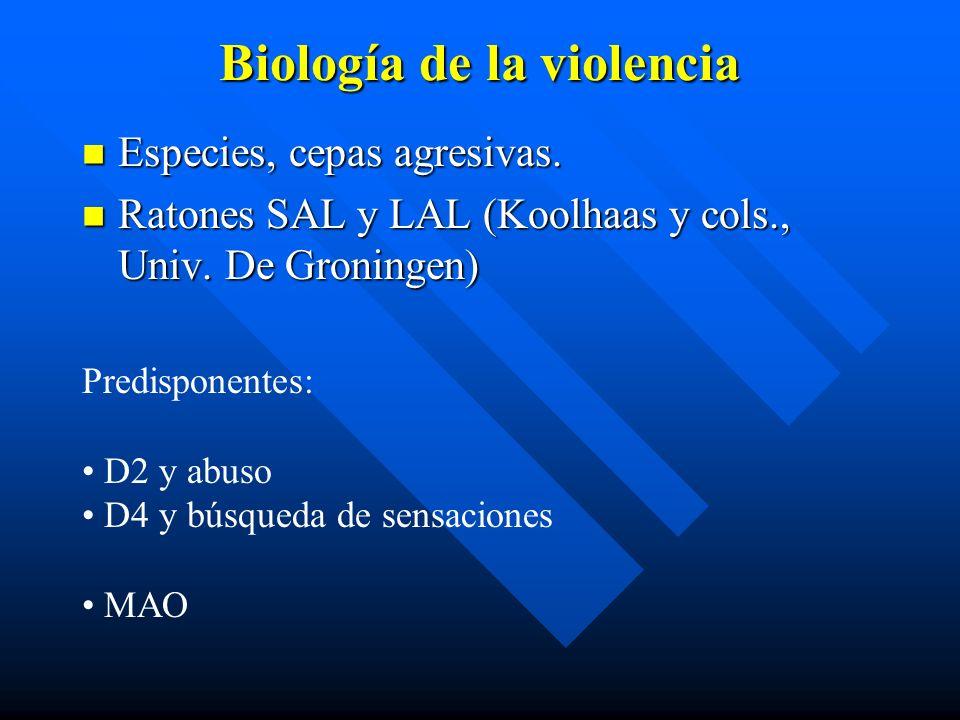 Biología de la violencia Especies, cepas agresivas. Especies, cepas agresivas. Ratones SAL y LAL (Koolhaas y cols., Univ. De Groningen) Ratones SAL y