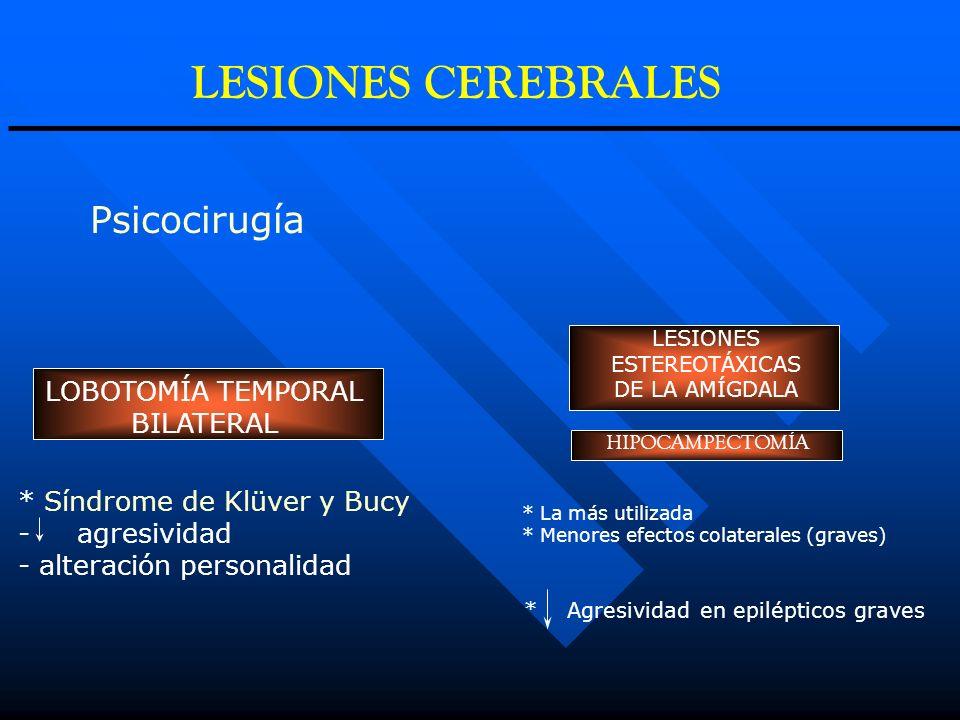 Psicocirugía LESIONES ESTEREOTÁXICAS DE LA AMÍGDALA * La más utilizada * Menores efectos colaterales (graves) HIPOCAMPECTOMÍA * Agresividad en epilépt