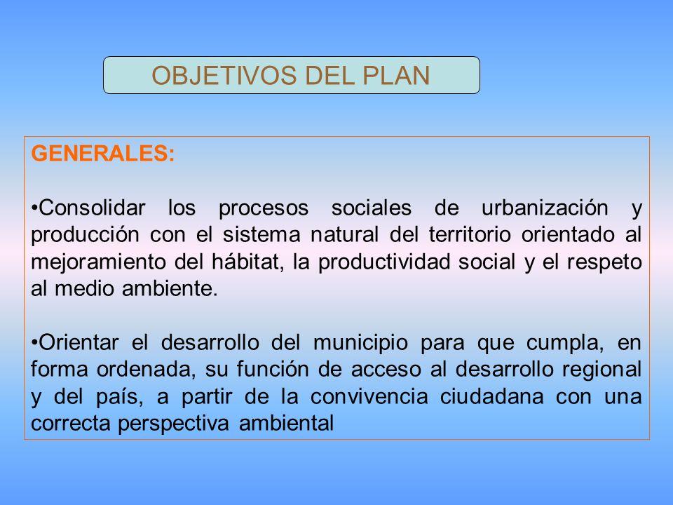 OBJETIVOS DEL PLAN GENERALES: Consolidar los procesos sociales de urbanización y producción con el sistema natural del territorio orientado al mejoramiento del hábitat, la productividad social y el respeto al medio ambiente.