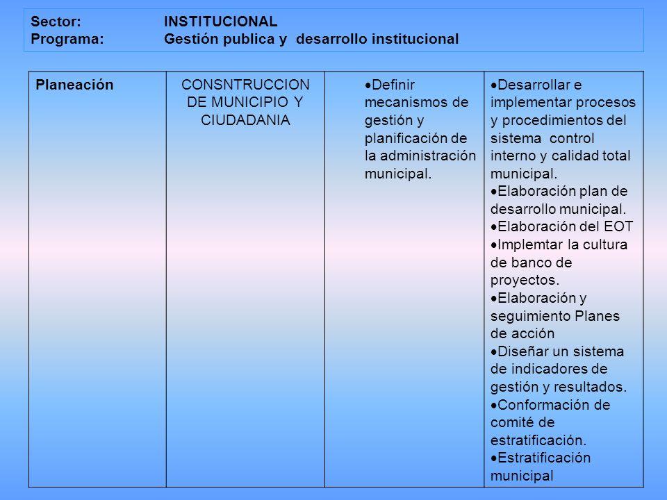 Sector:INSTITUCIONAL Programa: Gestión publica y desarrollo institucional PlaneaciónCONSNTRUCCION DE MUNICIPIO Y CIUDADANIA Definir mecanismos de gestión y planificación de la administración municipal.