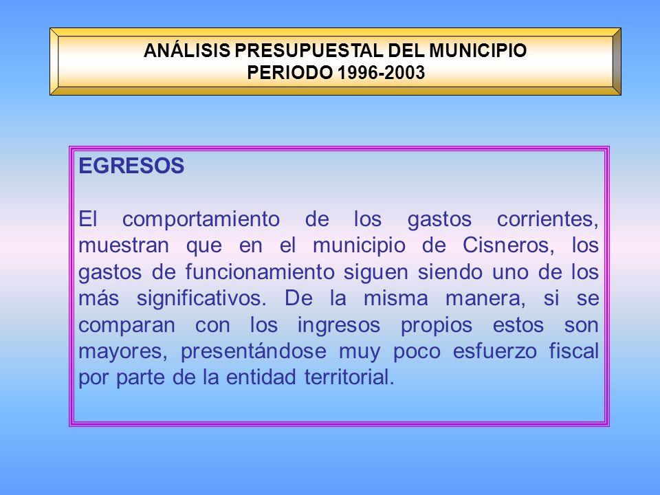 ANÁLISIS PRESUPUESTAL DEL MUNICIPIO PERIODO 1996-2003 EGRESOS El comportamiento de los gastos corrientes, muestran que en el municipio de Cisneros, los gastos de funcionamiento siguen siendo uno de los más significativos.