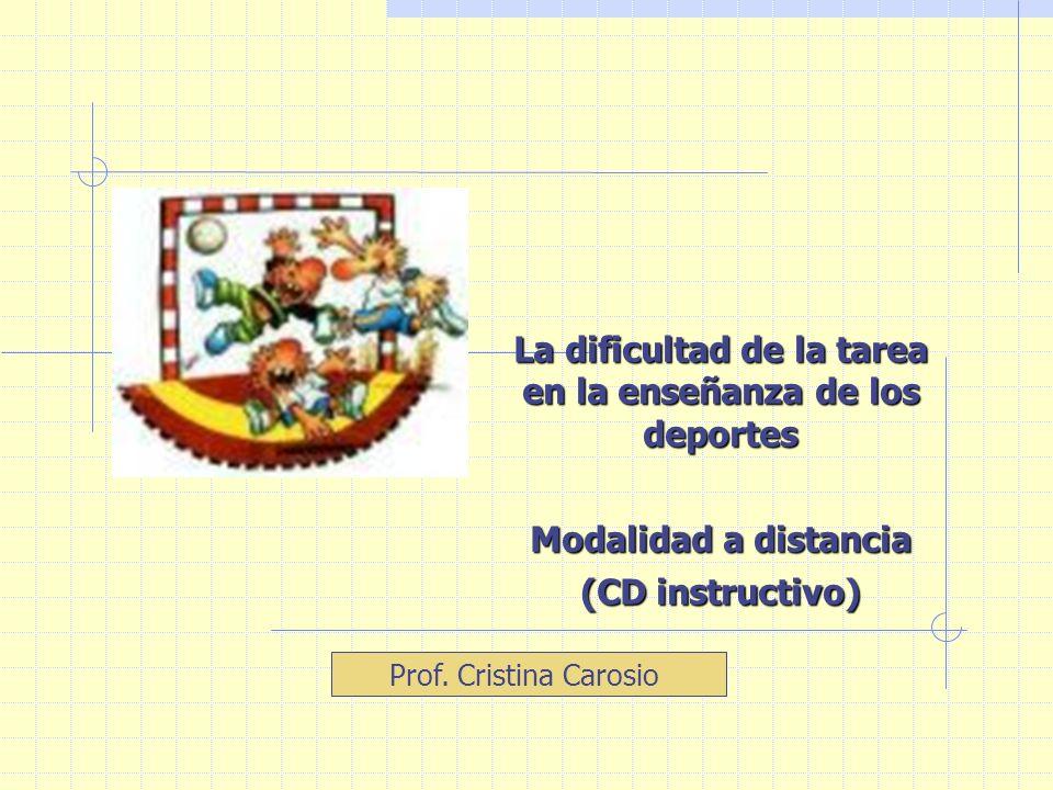Prof. Cristina Carosio La dificultad de la tarea en la enseñanza de los deportes Modalidad a distancia (CD instructivo)