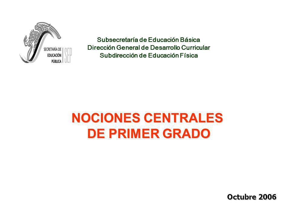 Subsecretaría de Educación Básica Dirección General de Desarrollo Curricular Subdirección de Educación Física NOCIONES CENTRALES DE PRIMER GRADO Octubre 2006