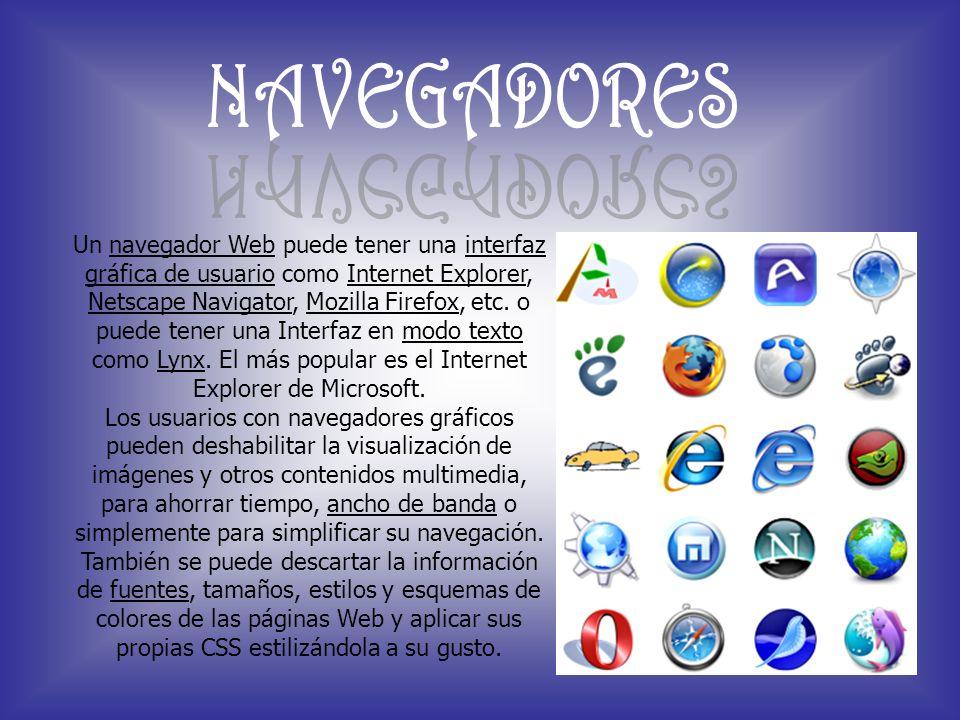 Un navegador Web puede tener una interfaz gráfica de usuario como Internet Explorer, Netscape Navigator, Mozilla Firefox, etc. o puede tener una Inter