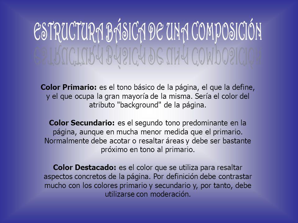 Color Primario: es el tono básico de la página, el que la define, y el que ocupa la gran mayoría de la misma. Sería el color del atributo