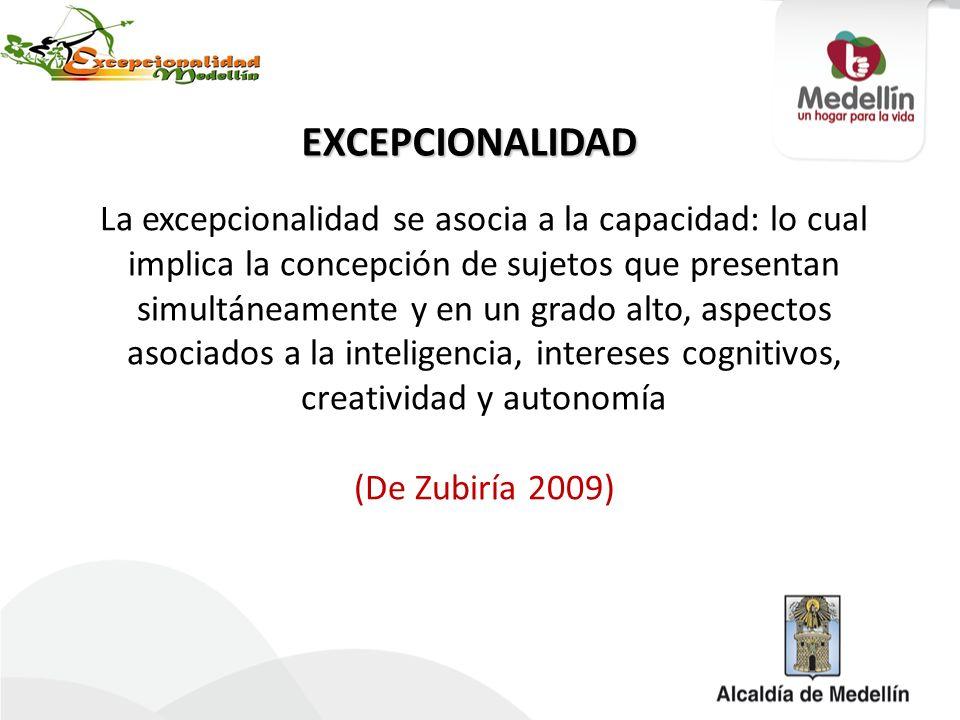 La excepcionalidad se asocia a la capacidad: lo cual implica la concepción de sujetos que presentan simultáneamente y en un grado alto, aspectos asoci