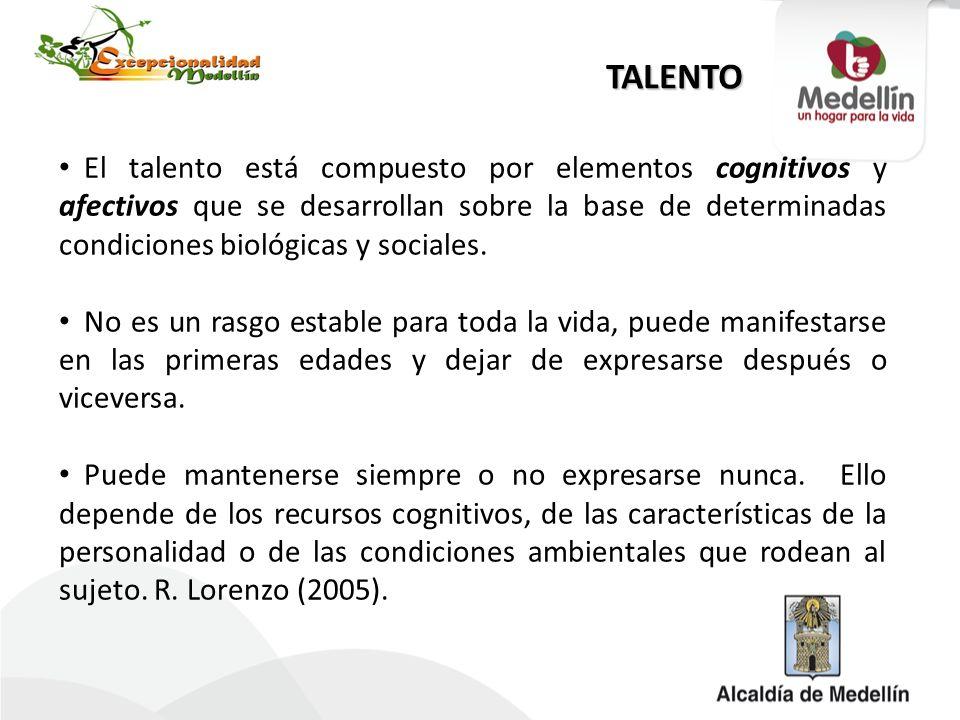 TALENTO El talento está compuesto por elementos cognitivos y afectivos que se desarrollan sobre la base de determinadas condiciones biológicas y socia