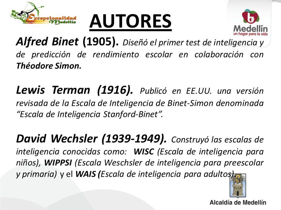 AUTORES Alfred Binet (1905). Diseñó el primer test de inteligencia y de predicción de rendimiento escolar en colaboración con Théodore Simon. Lewis Te