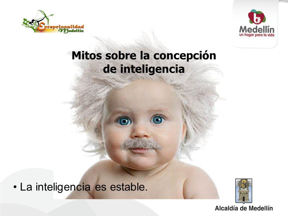 Mitos sobre la concepción de inteligencia La inteligencia es estable.