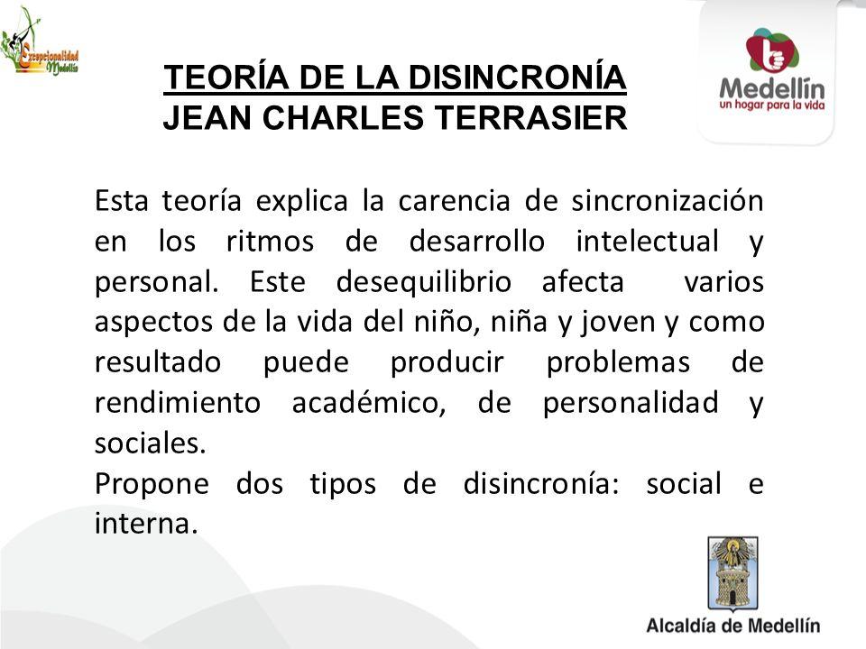 TEORÍA DE LA DISINCRONÍA JEAN CHARLES TERRASIER Esta teoría explica la carencia de sincronización en los ritmos de desarrollo intelectual y personal.