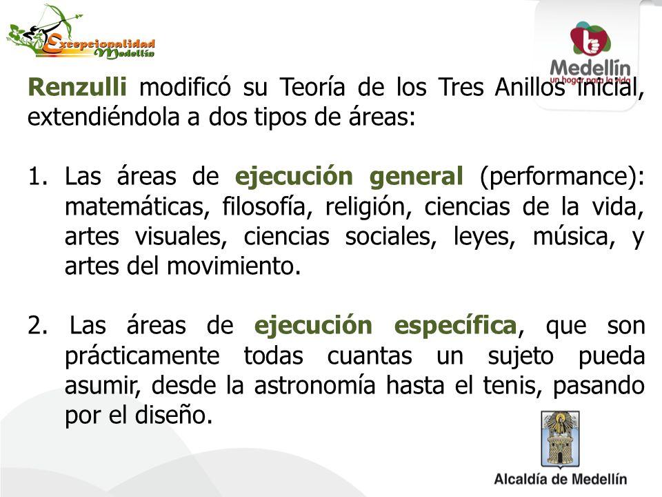Renzulli modificó su Teoría de los Tres Anillos inicial, extendiéndola a dos tipos de áreas: 1.Las áreas de ejecución general (performance): matemátic