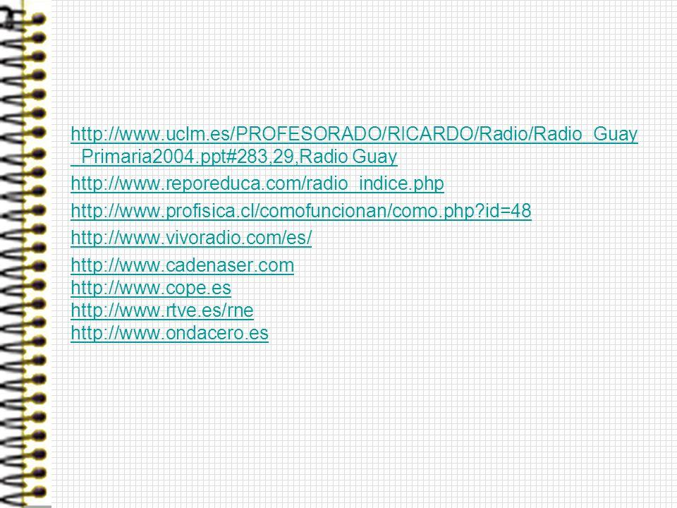 http://www.uclm.es/PROFESORADO/RICARDO/Radio/Radio_Guay _Primaria2004.ppt#283,29,Radio Guayhttp://www.uclm.es/PROFESORADO/RICARDO/Radio/Radio_Guay _Pr