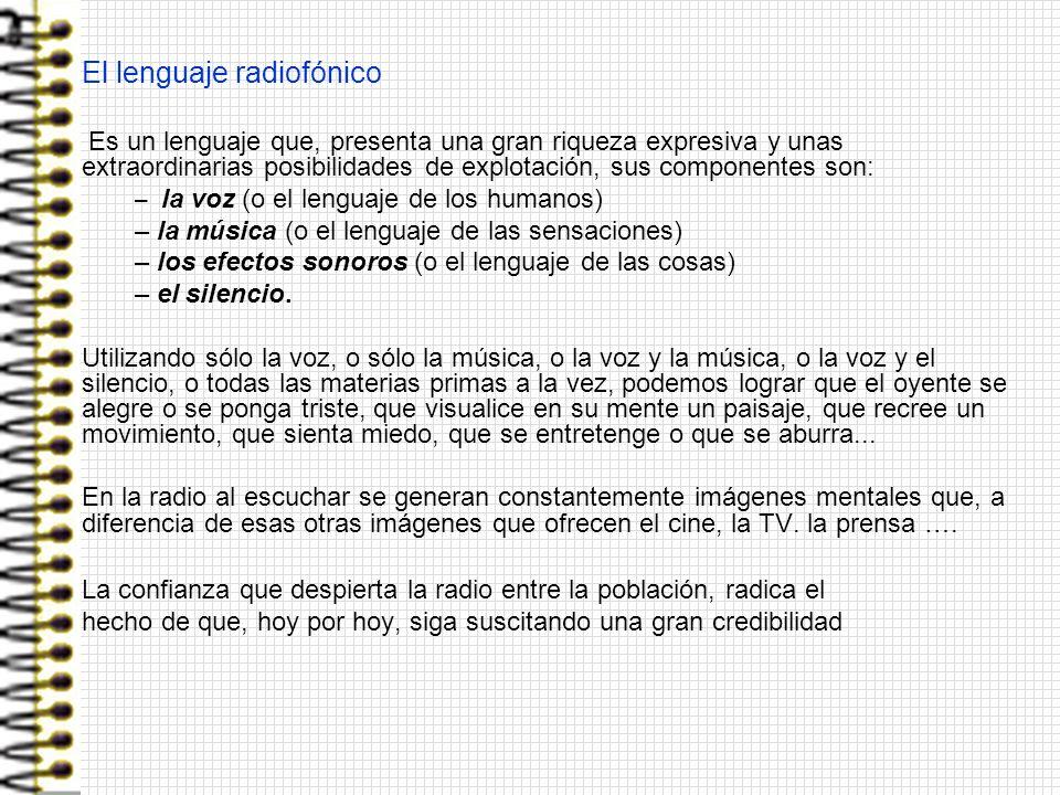 El lenguaje radiofónico Es un lenguaje que, presenta una gran riqueza expresiva y unas extraordinarias posibilidades de explotación, sus componentes s