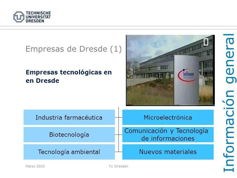 Marzo 2010TU Dresden Empresas de Dresde (2) IT / Microelectrónica Farmacia / Biotecnología Información general