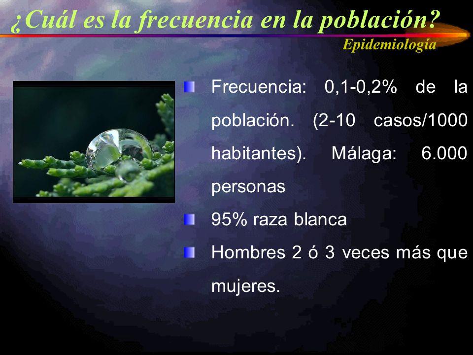 ¿Cuál es la frecuencia en la población? Epidemiología Frecuencia: 0,1-0,2% de la población. (2-10 casos/1000 habitantes). Málaga: 6.000 personas 95% r
