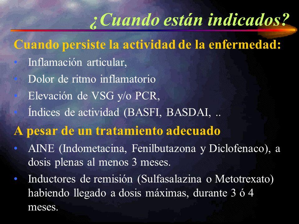 Cuando persiste la actividad de la enfermedad: Inflamación articular, Dolor de ritmo inflamatorio Elevación de VSG y/o PCR, Índices de actividad (BASF