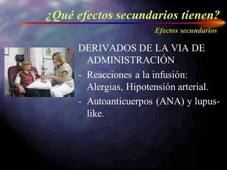 DERIVADOS DE LA VIA DE ADMINISTRACIÓN -Reacciones a la infusión: Alergias, Hipotensión arterial. -Autoanticuerpos (ANA) y lupus- like. ¿Qué efectos se