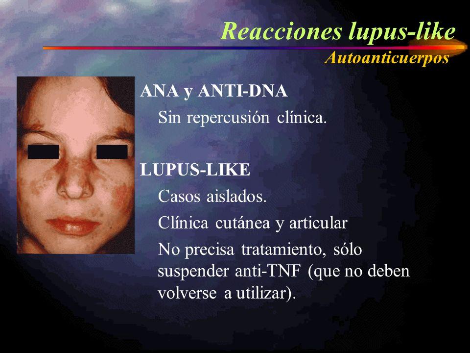 ANA y ANTI-DNA Sin repercusión clínica. LUPUS-LIKE Casos aislados. Clínica cutánea y articular No precisa tratamiento, sólo suspender anti-TNF (que no