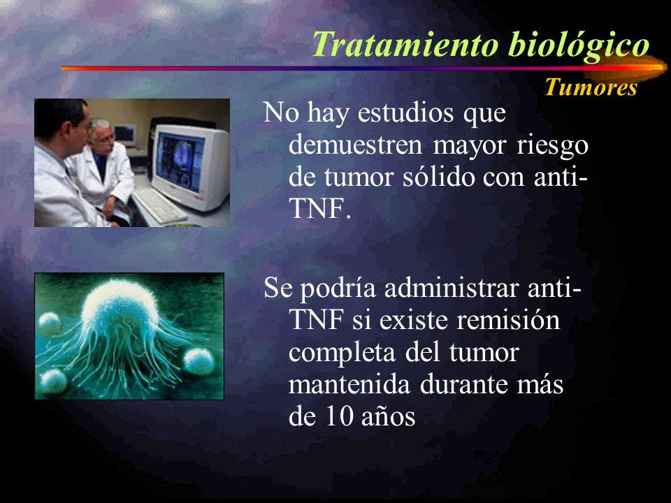 No hay estudios que demuestren mayor riesgo de tumor sólido con anti- TNF. Se podría administrar anti- TNF si existe remisión completa del tumor mante