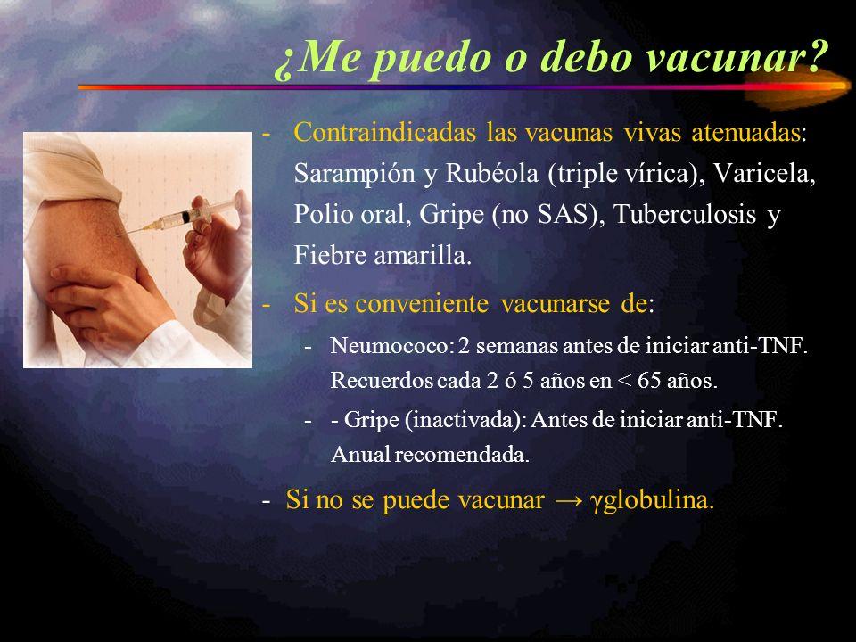 -Contraindicadas las vacunas vivas atenuadas: Sarampión y Rubéola (triple vírica), Varicela, Polio oral, Gripe (no SAS), Tuberculosis y Fiebre amarill
