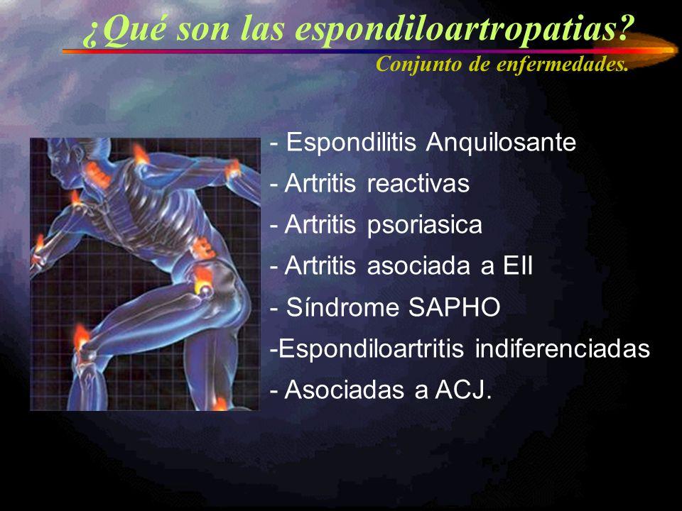 ¿Qué son las espondiloartropatias? Conjunto de enfermedades. - Espondilitis Anquilosante - Artritis reactivas - Artritis psoriasica - Artritis asociad