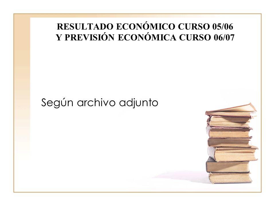RESULTADO ECONÓMICO CURSO 05/06 Y PREVISIÓN ECONÓMICA CURSO 06/07 Según archivo adjunto