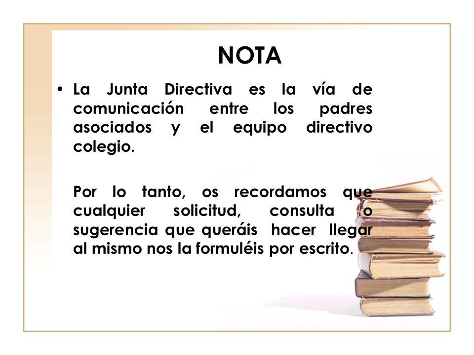 NOTA La Junta Directiva es la vía de comunicación entre los padres asociados y el equipo directivo colegio.