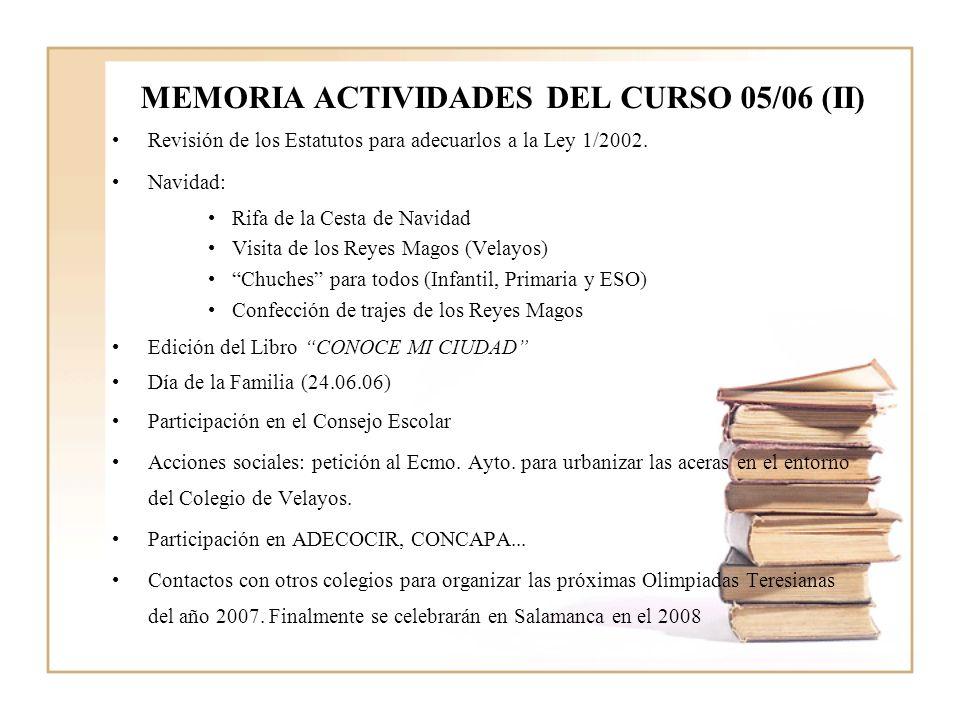 MEMORIA ACTIVIDADES DEL CURSO 05/06 (II) Revisión de los Estatutos para adecuarlos a la Ley 1/2002.