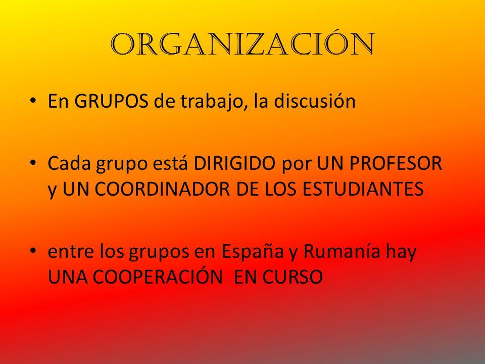 ORGANIZACIÓN En GRUPOS de trabajo, la discusión Cada grupo está DIRIGIDO por UN PROFESOR y UN COORDINADOR DE LOS ESTUDIANTES entre los grupos en España y Rumanía hay UNA COOPERACIÓN EN CURSO