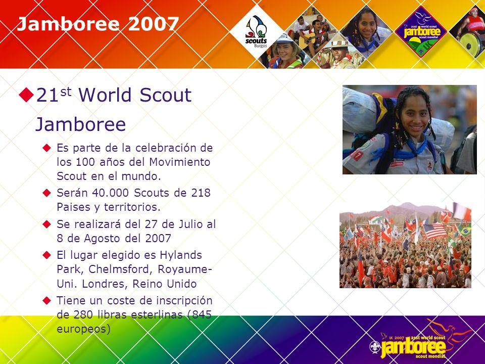 Jamboree 2007 21 st World Scout Jamboree Es parte de la celebración de los 100 años del Movimiento Scout en el mundo. Serán 40.000 Scouts de 218 Paise