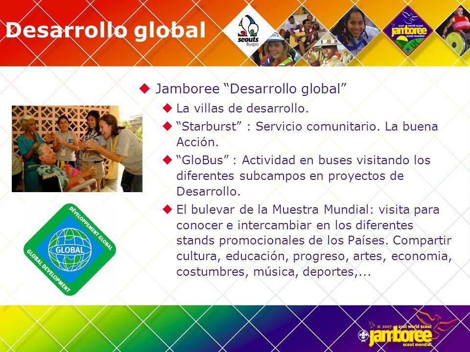 Desarrollo global Jamboree Desarrollo global La villas de desarrollo. Starburst : Servicio comunitario. La buena Acción. GloBus : Actividad en buses v