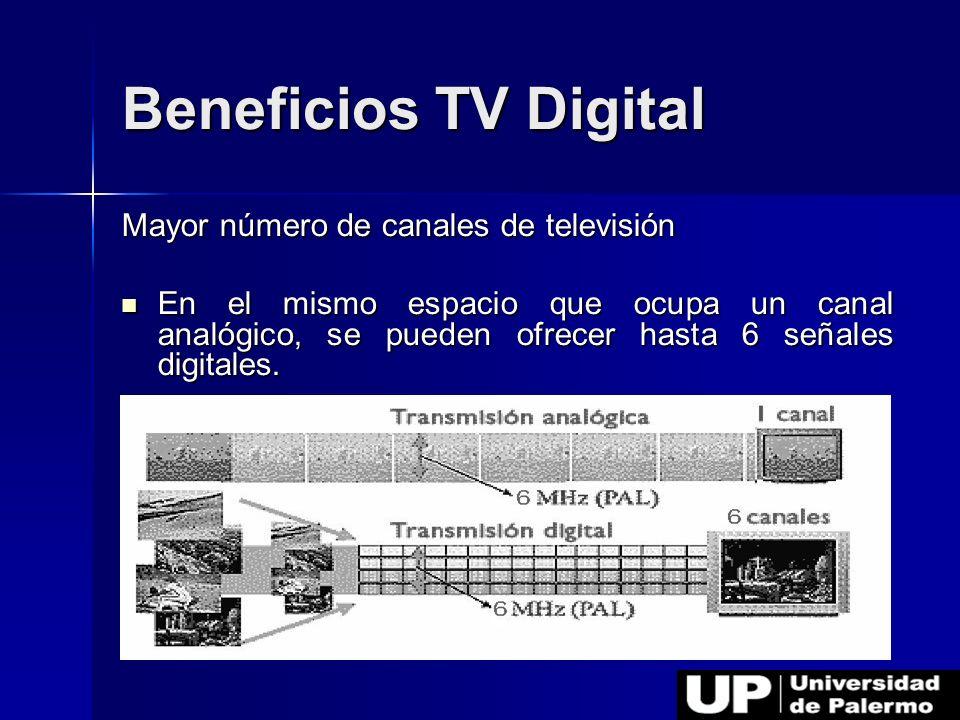Beneficios TV Digital Mayor número de canales de televisión En el mismo espacio que ocupa un canal analógico, se pueden ofrecer hasta 6 señales digita