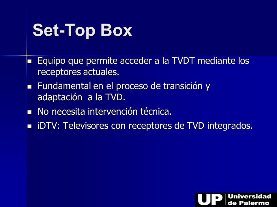 Set-Top Box Equipo que permite acceder a la TVDT mediante los receptores actuales. Equipo que permite acceder a la TVDT mediante los receptores actual