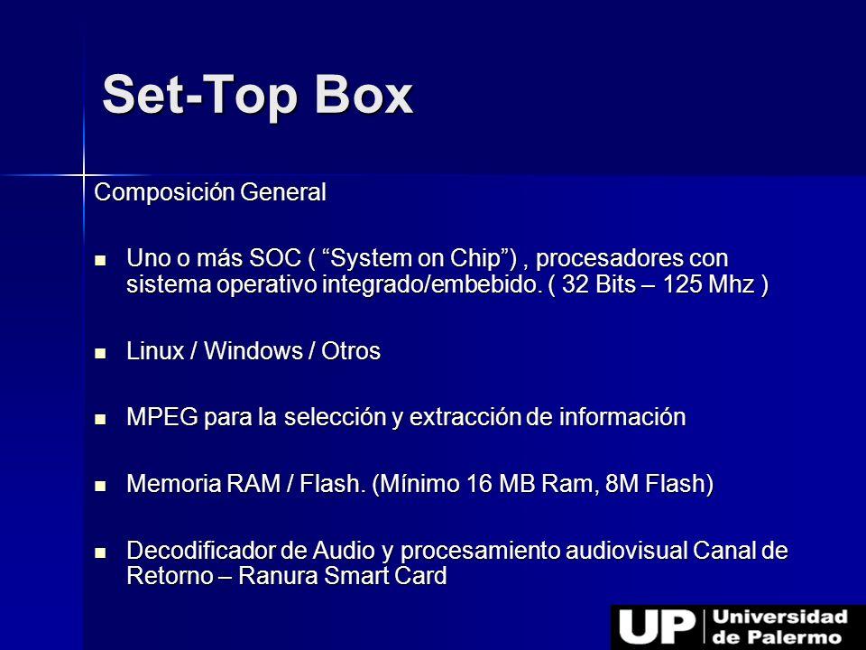 Composición General Uno o más SOC ( System on Chip), procesadores con sistema operativo integrado/embebido. ( 32 Bits – 125 Mhz ) Uno o más SOC ( Syst
