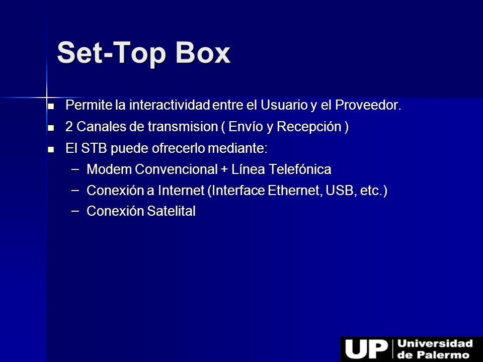 Permite la interactividad entre el Usuario y el Proveedor. Permite la interactividad entre el Usuario y el Proveedor. 2 Canales de transmision ( Envío