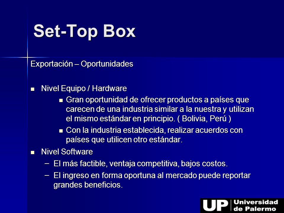 Exportación – Oportunidades Nivel Equipo / Hardware Nivel Equipo / Hardware Gran oportunidad de ofrecer productos a países que carecen de una industri