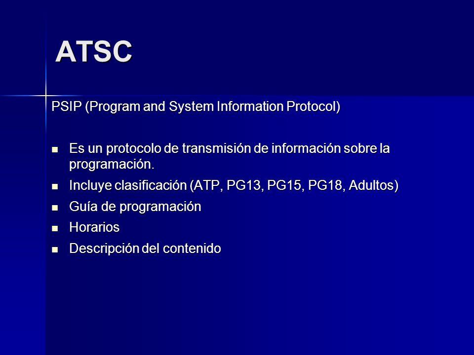 ATSC PSIP (Program and System Information Protocol) Es un protocolo de transmisión de información sobre la programación. Es un protocolo de transmisió