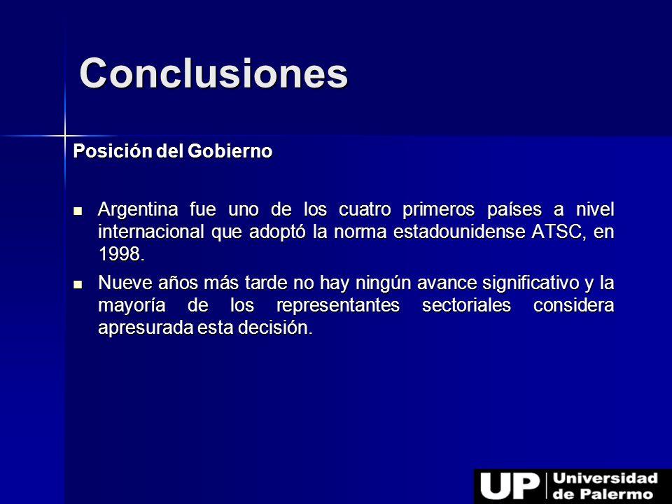 Posición del Gobierno Argentina fue uno de los cuatro primeros países a nivel internacional que adoptó la norma estadounidense ATSC, en 1998. Argentin
