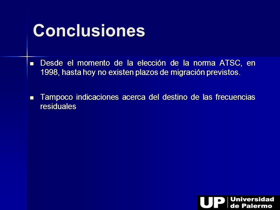 Desde el momento de la elección de la norma ATSC, en 1998, hasta hoy no existen plazos de migración previstos. Desde el momento de la elección de la n