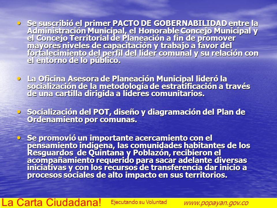 Se suscribió el primer PACTO DE GOBERNABILIDAD entre la Administración Municipal, el Honorable Concejo Municipal y el Concejo Territorial de Planeació